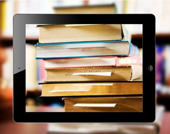 stacked books in ipad frame