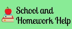 Apple and books with words school and homework help