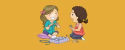 kids making jewelry