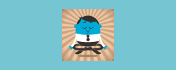 graphic of man in business attire meditating