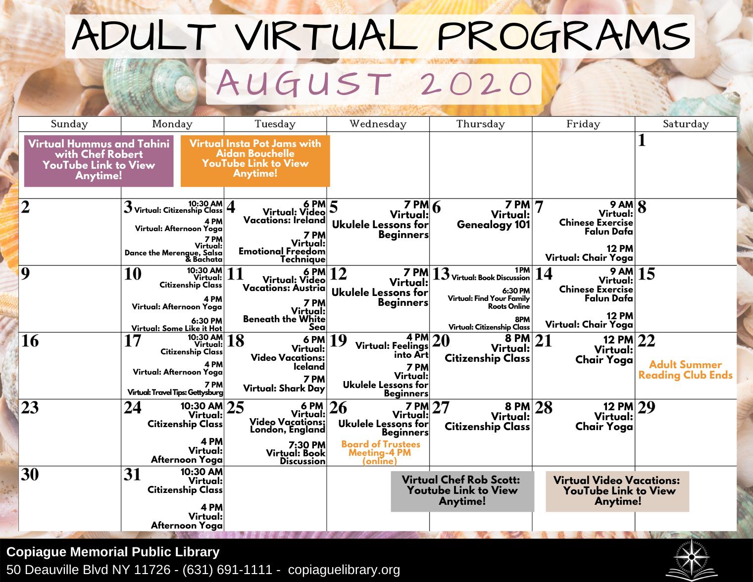 Adult Virtual Programs August 2020