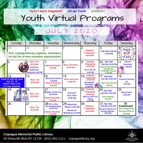 July Youth Virtual Calendar