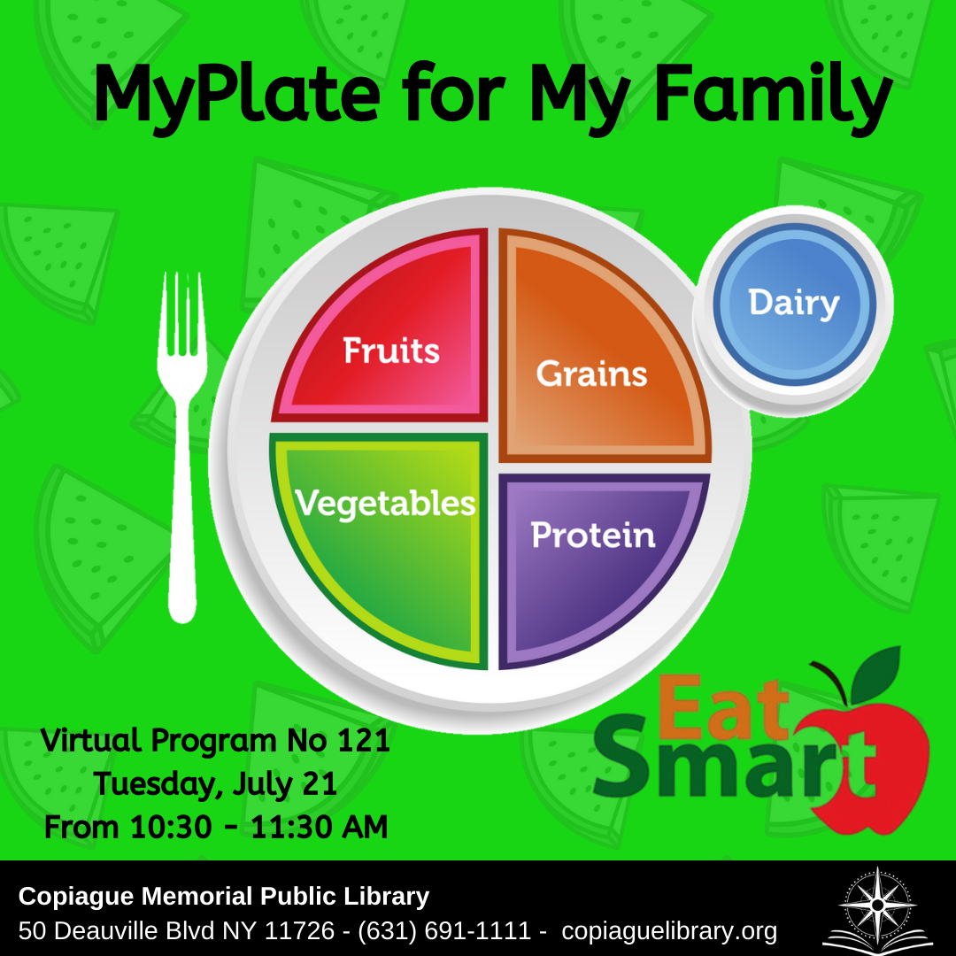 MyPlate for My Family Virtual Program No 121 Tuesday, July 21 From 10:30 - 11:30 AM