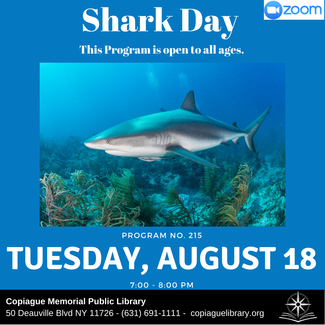 Shark Day This Program is open to all ages. Program No. 215 Tuesday, August 18 7:00 - 8:00 PM